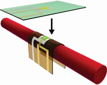 Imagen: Los OTFT unidos a polímeros con memoria de forma, cambian de forma cuando se calientan (Fotografía cortesía de la UT de Dallas).