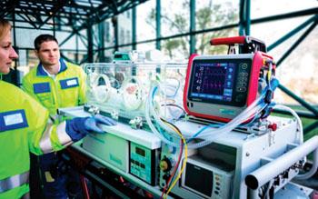 El HAMILTON-T1, un ventilador de transporte con opción para recién nacidos (Fotografía cortesía de Hamilton Medical).