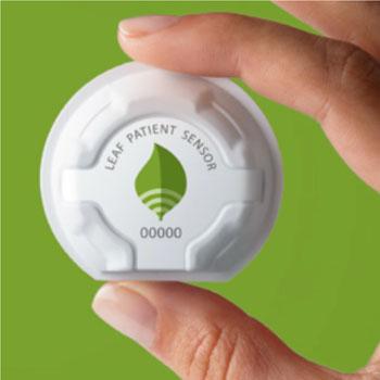 Imagen: El sensor del paciente Leaf (Fotografía cortesía de Leaf Healthcare).