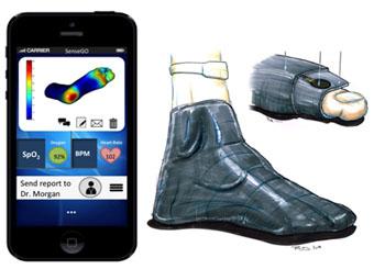 Imagen: El diseño conceptual de los calcetines con sensores de presión (Fotografía cortesía de HUJI).