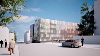 Imagen: Interpretación artística del nuevo campus del hospital central en Mikkeli (Finlandia) (Fotografía cortesía del BEI).